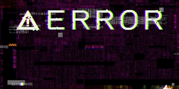 Glitch effect failing system computer danger symbols hacking errors cyberpunk digital pixel design concept damaged computer system 3d illustration