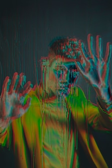 Glitch effect on portrait of young man