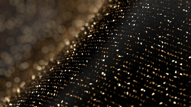 Glitter abstract background. gold sparks and highlights. 3d illustration, 3d rendering.