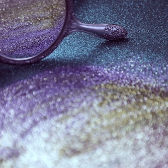 Glitter bokeh lights background and a mirror
