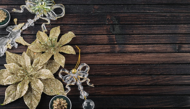 Glitter flowers for decoration on table