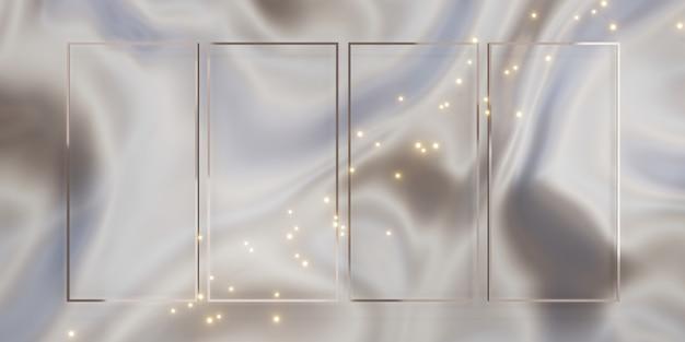 Блестящий роскошный фон рамки для вставки текста и содержимого 3d-иллюстраций