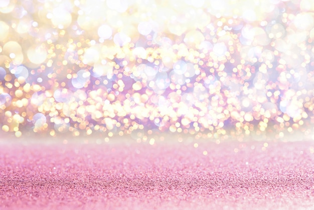 Glitter pink vintage lights texture bokeh background. defocused