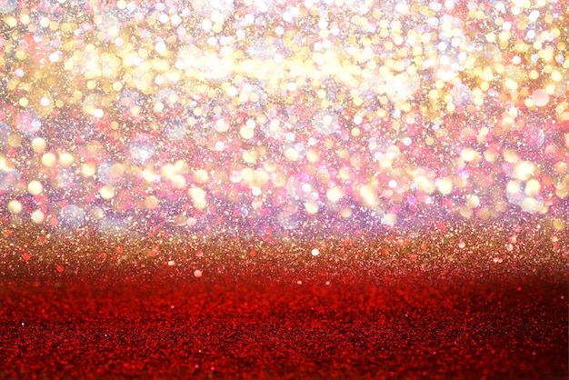 Glitter red vintage lights texture bokeh abstract background. defocused