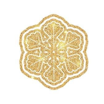 ゴールドダストで作られたキラキラ光るスノーフレーク