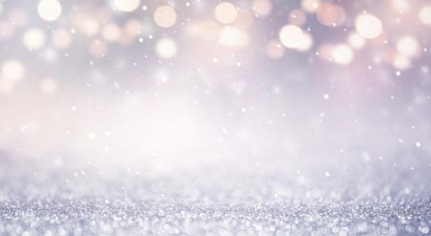 キラキラビンテージライトは、新年の休日の背景を抽象化します。青と金、コピースペース。
