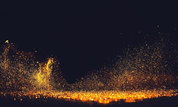 キラキラヴィンテージライトの背景。ゴールドとブラック。デフォーカス