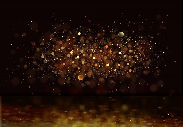 Glitter vintage lights background. gold,de-focused.