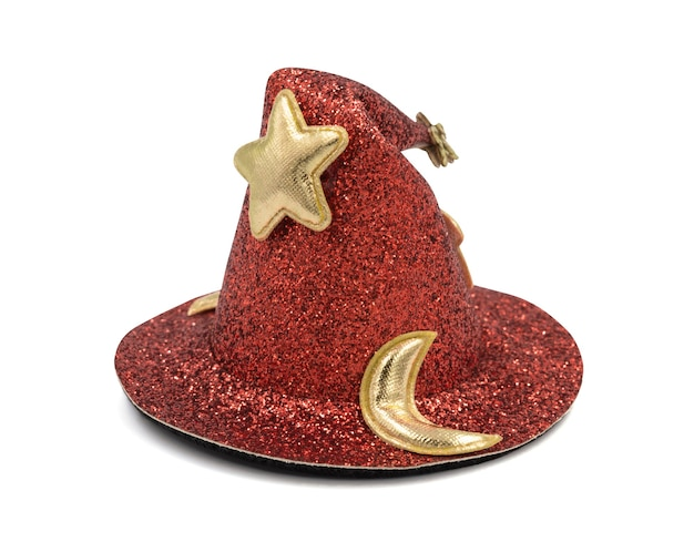 Glittering orange cone wizard hat with golden moon and star isolated on white