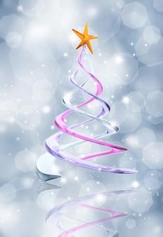 추상 유리 효과 크리스마스 트리와 빛나는 파란색 배경
