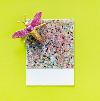 Glittery and sparkly paper card