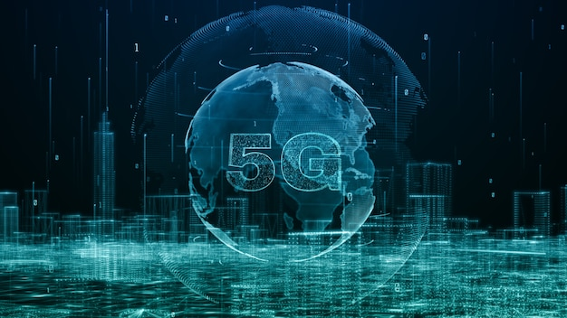 Global 5g high speed internet connection and data analysis process big data