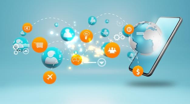 グローバルビジネス接続、ソーシャルネットワークの概念 Premium写真