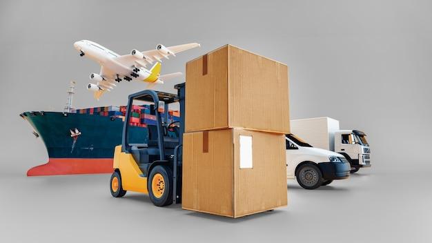 물류 수입 수출을 위한 컨테이너 화물 화물 열차의 글로벌 비즈니스, 비즈니스 물류 개념, 항공 화물 트럭, 해상 운송, 정시 배송. 3d 렌더링.