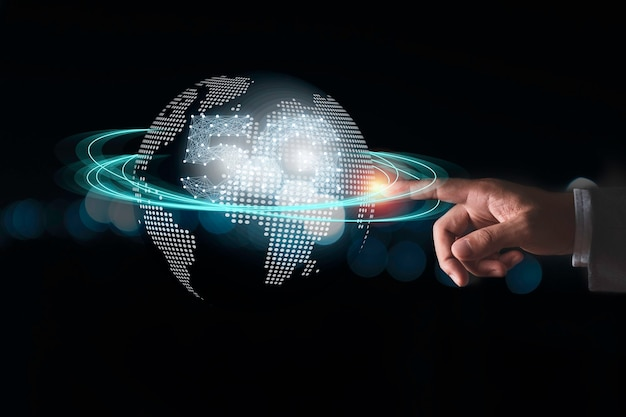 Global communication and technology concept.