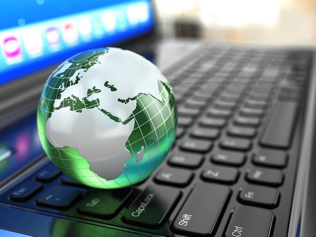 Глобальные коммуникации земля на клавиатуре ноутбука 3d модель