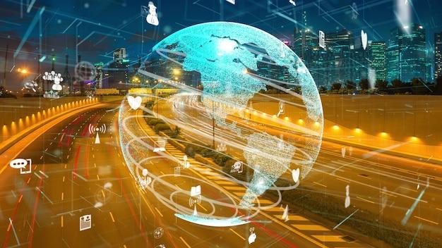 스마트 시티의 글로벌 연결 및 인터넷 네트워크 현대화