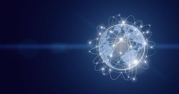 Концепция глобальной связи. глобальная сеть на темном фоне. понятие о бизнесе, политике, экологии и сми.
