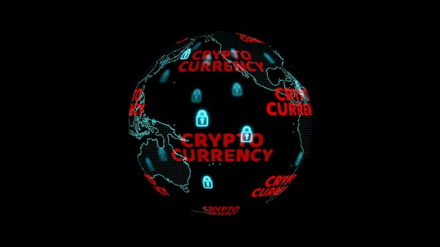 Global and cryptocurrency digital red text and blue digital lock warning change to red