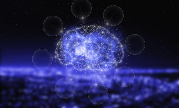グローバルデータベースと人工知能。サイバーブレインの現代的な概念。 ai、機械学習