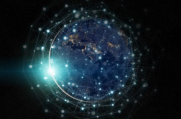 Nasaから提供されたこの画像の世界中の要素にわたるグローバルデータ交換および接続システム