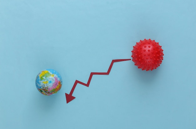 Global decreased dynamics of infection and mortality from covid-19. virus strain model and arrow tending down on a blue