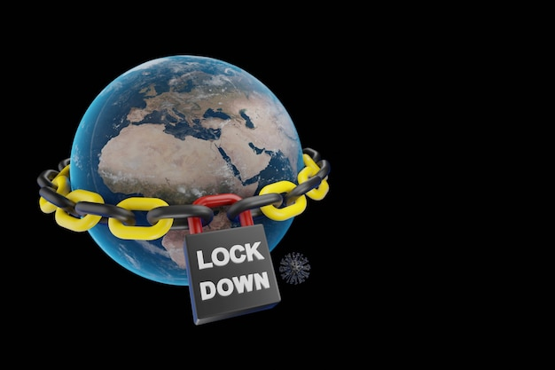 Global economic lockdown with padlock and virus