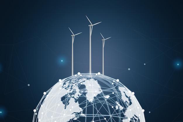 地球上の3dレンダリング風力タービンによるグローバルエネルギーコンセプト