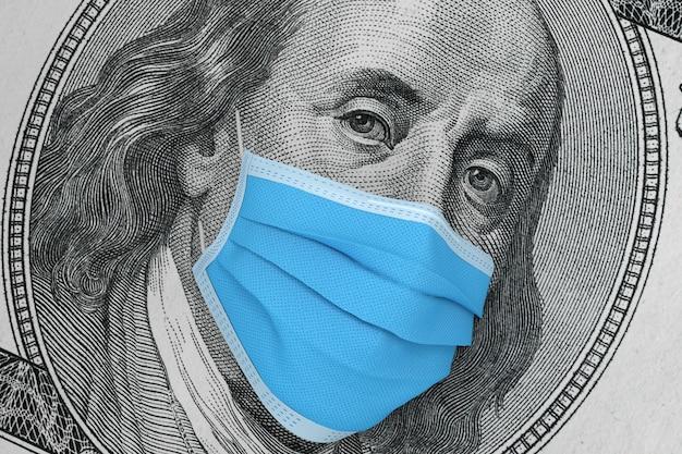 글로벌 금융 위기 개념입니다. 100달러짜리 지폐에 의료용 안면 마스크를 쓴 벤자민 프랭클린 3d 렌더링