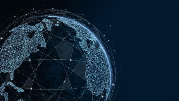 글로벌 현대 창조적 커뮤니케이션 및 인터넷 네트워크 맵이 스마트 시티에서 연결됩니다.