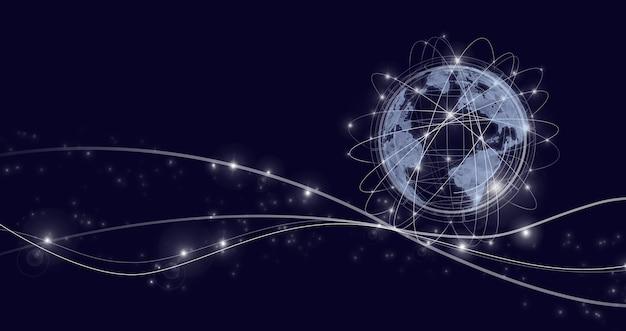 Глобальная сеть на темном фоне. понятие о бизнесе, политике, экологии и сми. концепция навигации. карта и концепция инноваций