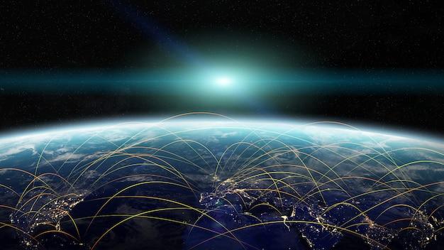 グローバルネットワークとデータ交換3dレンダリング要素