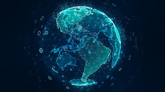 グローバルネットワーク接続の概念。スペースサイエンティフィックコンセプトで回転するグローバルビジネスネットワークデジタルワールドネットワークは、デジタル時代とグローバルな接続性を地球に伝えます。