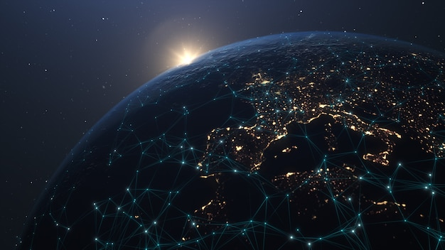 Global network connection. communication technology global network. global world network and telecommunication on earth cryptocurrency and blockchain and iot. elements of this image furnished by nasa