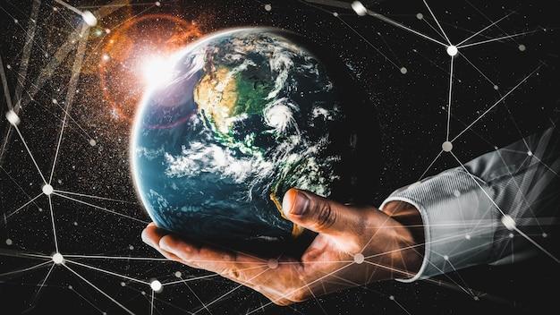 Глобальное сетевое соединение, охватывающее землю, со связью инновационного восприятия