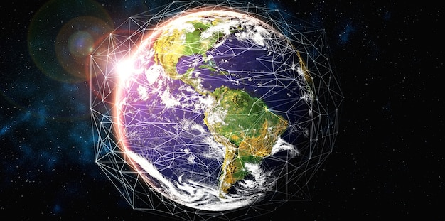 Глобальное сетевое соединение, покрывающее землю, с линиями инновационного восприятия