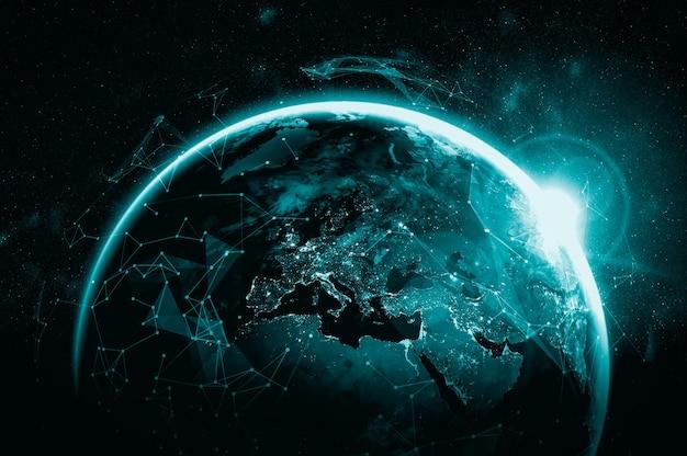 革新的な認識の線で地球をカバーするグローバルネットワーク接続