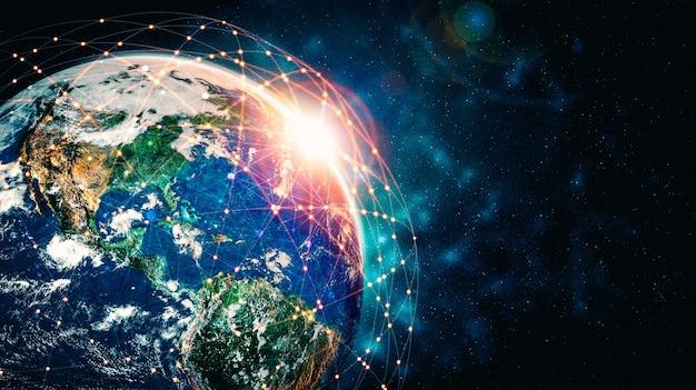 혁신적인 인식의 선으로 지구를 덮는 글로벌 네트워크 연결