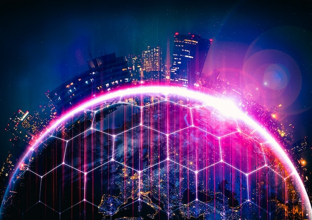 革新的な知覚の線で地球を覆うグローバルネットワーク接続