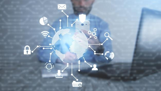 グローバルネットワーク接続。現代世界のテクノロジー
