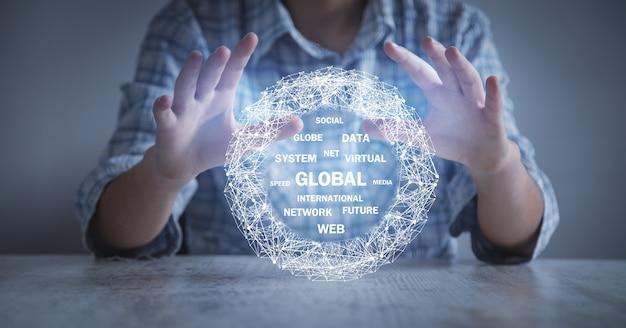 グローバルネットワーク接続。ビジネス、インターネット、テクノロジー Premium写真