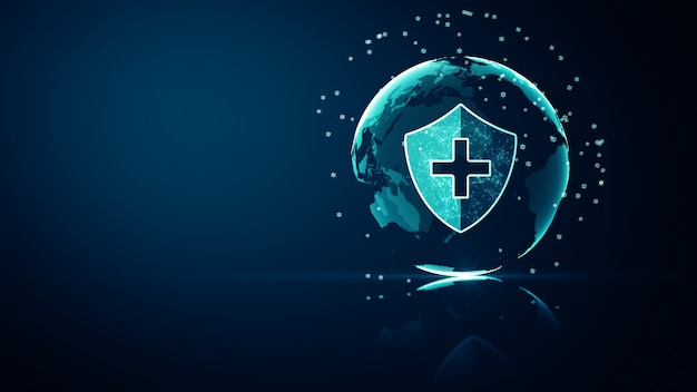 Global network medical healthcare system protection concept. futuristic medical health protection shield icon with shining wireframe above multiple on dark blue background.