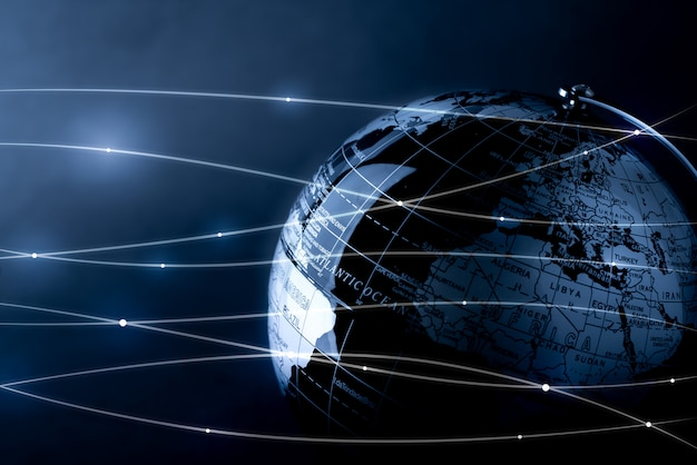 Global network for technology and future concept