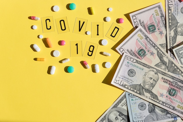 Global pandemic covid 19 lockdown. high price of masks and demand during quarantine in united states, europe. dollar bills currency.