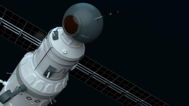Спутник связи глобальной спутниковой системы летит в космическом пространстве