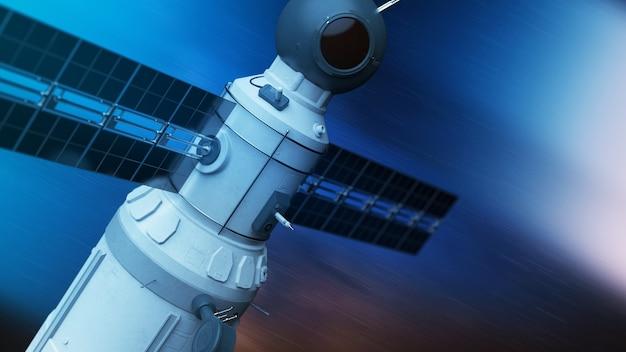 Глобальная спутниковая система. спутник связи на футуристическом космическом фоне