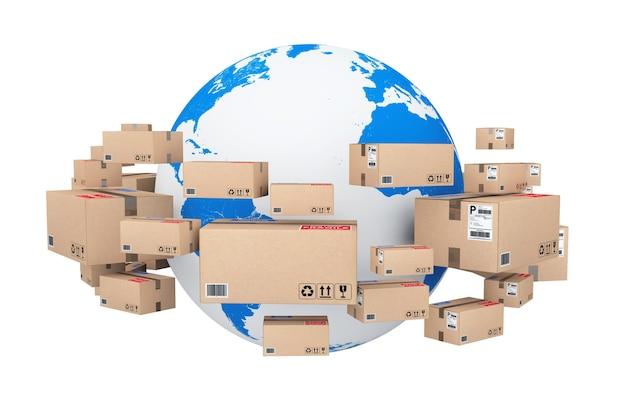 글로벌 배송 및 물류 개념. 흰색 배경에 소포 상품이 있는 골판지 상자로 둘러싸인 지구 지구. 3d 렌더링.