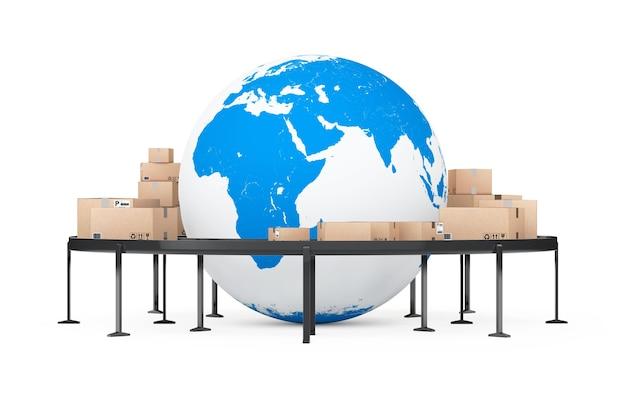 글로벌 배송 및 물류 개념. 흰색 배경에 롤러 컨베이어 위에 소포 상품이 있는 골판지 상자로 둘러싸인 지구 글로브. 3d 렌더링.