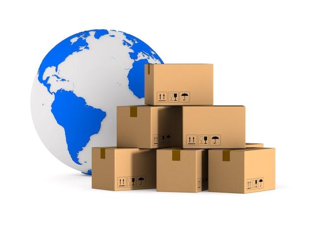 Глобальные перевозки грузов. изолированный 3d-рендеринг