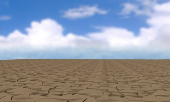 Global Warming and pollution theme with cracked land,clipping path, 3d rendering